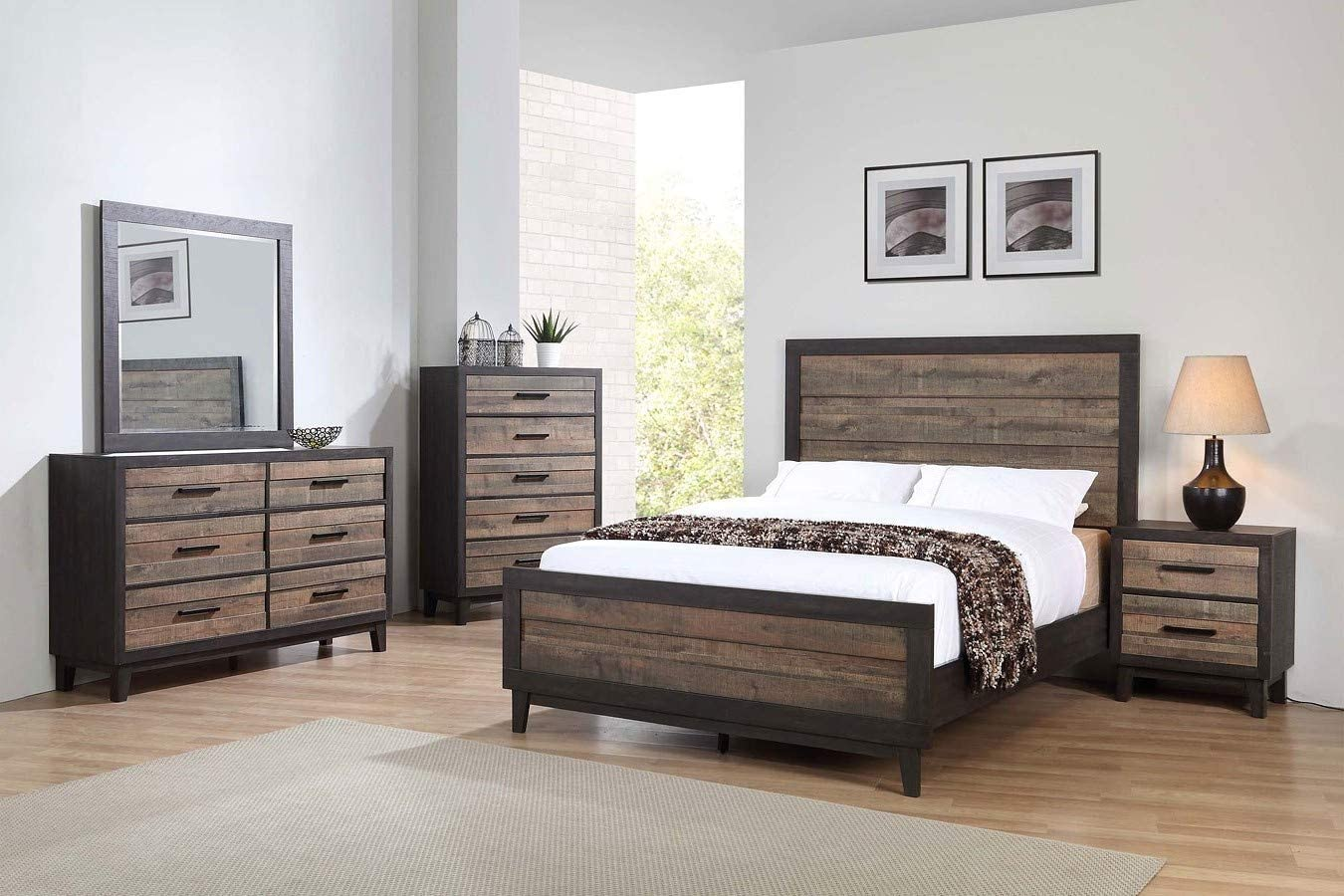 Esofastore Modern Style Queen SEAL limited product 4Pc Bed Set Nightst Mirror sold out Dresser