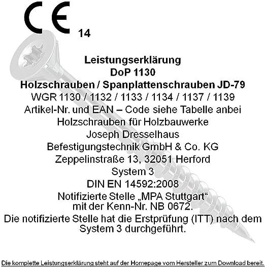 Spanplattenschrauben 4x60mm 500 St/ück JD-79 Schrauben I-Stern Torx Holzschrauben