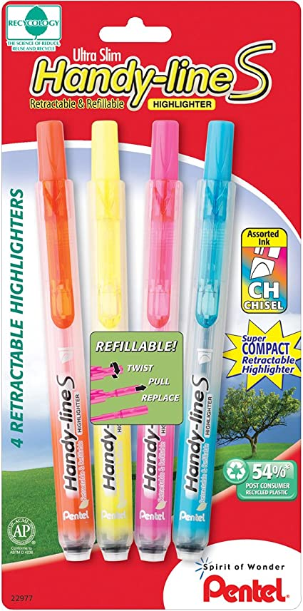 8 Of Pentel Handy-Line S Retractable Pink Refillable Highlighters Chisel Tip