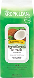 TropiClean Hypoallergenic Dog Wipes, 100 Count