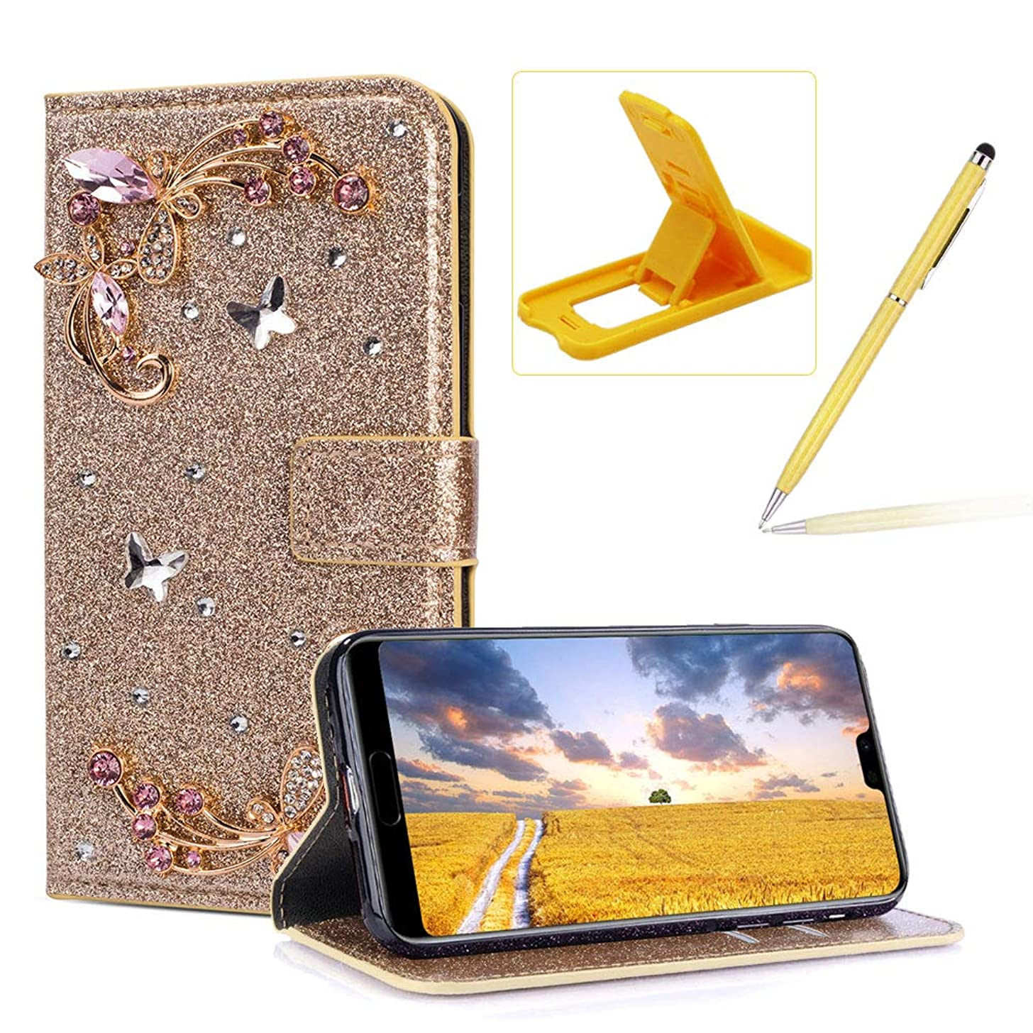 Herzzer Diamond Wallet Leather Case for Huawei P20,Gold Glitter Flip Cover for Huawei P20, Luxury 3D Flower Butterfly Decor Magnetic Stand Case with Inner Soft Rubber Case