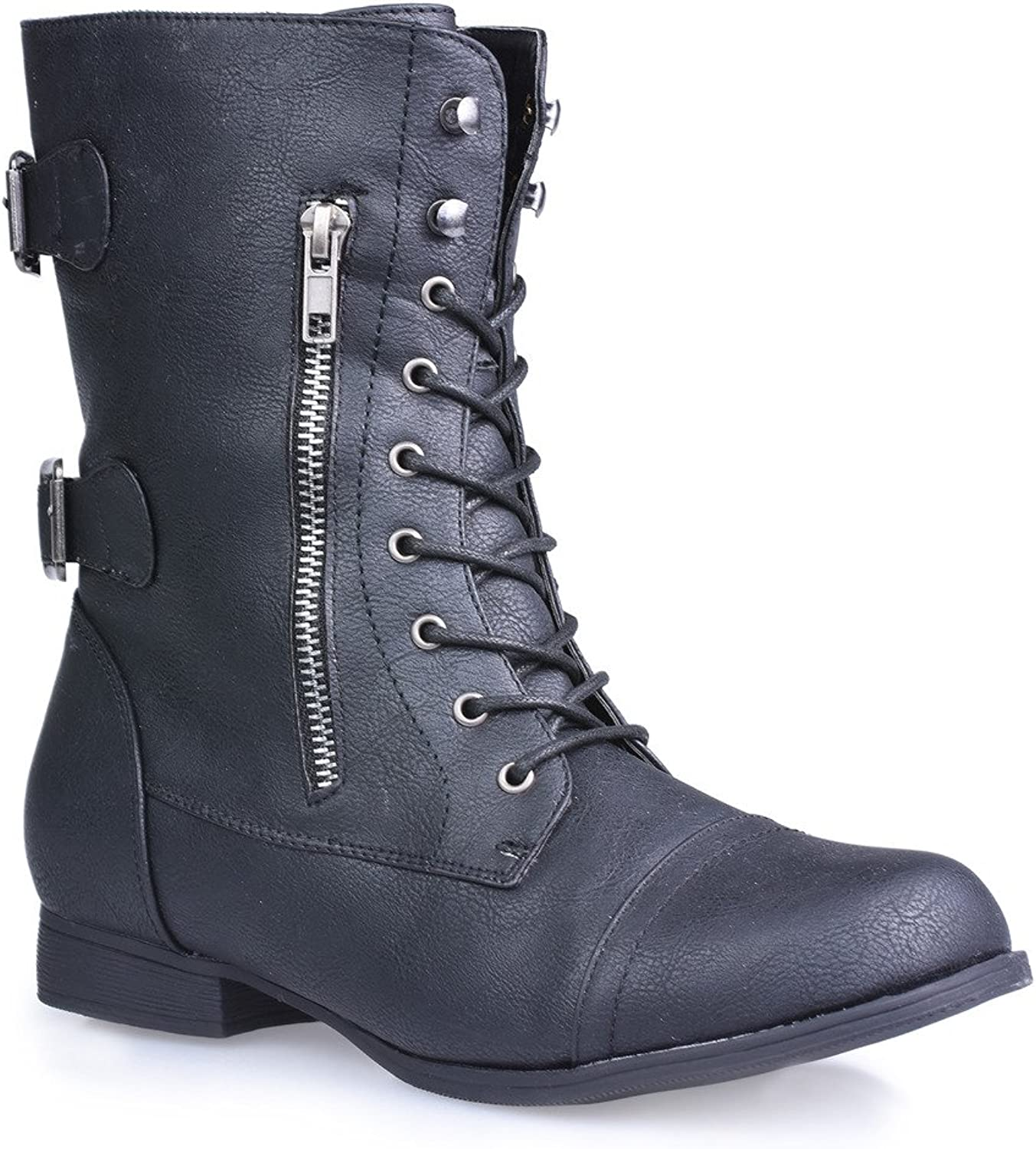 Twisted Women's Trooper Wide Width Wide Calf Mid-Calf Lace-Up Combat Boot