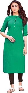 ladyline 100% Womens Cotton Kurti Tunic Plain Casual Top 3/4 Roll Up Sleeves Button Down Kurta Indian