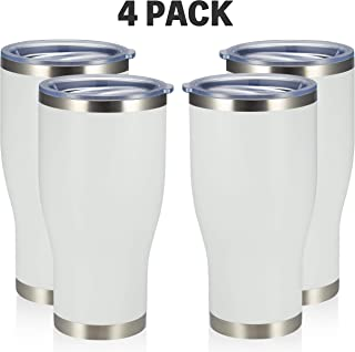 MEWAY 30oz Tumblers with Lid, Set of 4, Insulated Stainless Steel Travel Tumbler Insulated Coffee Mug, Double Wall Water C...