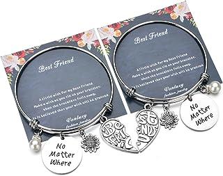 Bff Friendship Charm Bangles Bracelets for Best Friend-Love Heart Friendship Bracelet Set for 2 Fashion Memorial Jewelry G...