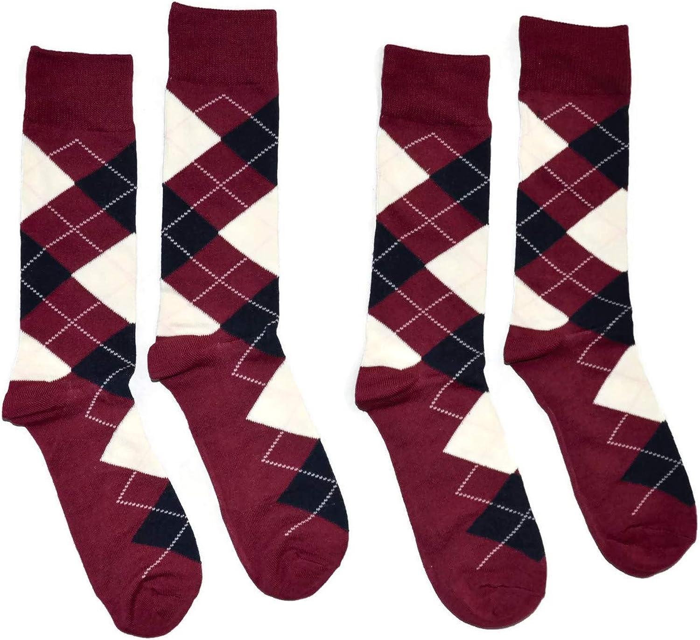 Bop Classy Men's Dress Crew Socks Argyle Pattern 2 Pair Set - Premium Cotton