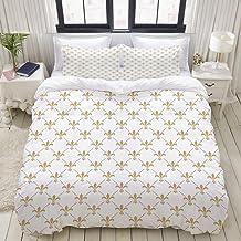 HKIDOYH Duvet Cover Set,Fleur de lis Pattern Design,Polyester 3 Piece Bedding Set with 2 Pillow Cases,King