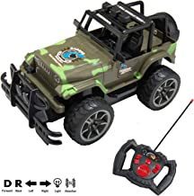 Full Function 1/15 Scale Remote Control Army Green Camouflage R/C Jeep Truck Toy Car Vehicle with Working Headlights for Adults, Boys, Girls, Kids