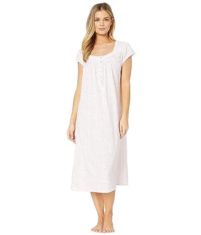 Eileen West Cotton Jersey Knit Cap Sleeve Ballet Nightgown (White Ground/Pink Scroll) Women