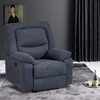 IPKIG Power Recliner Chair with Heat and Massage, Linen Recliner Sofa Chairs with USB Port for Adults for Living Room Bedr...