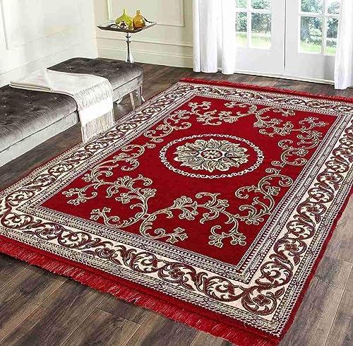 Rinki Home Furnishing 11D Designer Superfine Exclusive Velvet Carpet Rug Living Room Bedroom Hall School Temple Bedside Runner 60 inch x 84 inch 5 Feet x 7 Feet Colour Red
