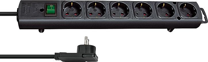 Brennenstuhl Comfort-Line Plus, stekkerdoos, 4-voudig (met platte stekker, schakelaar, 2 m kabel en extra brede afstanden ...