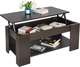 ZENY Coffee Table with Lift Top Hidden Compartment and Storage Shelves Modern Furniture for Home, Living Room, Décor