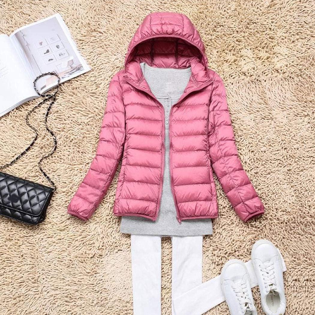 HANMAX Damen Ultra Leicht Daunenjacke Winter Übergangsjacke Steppjacke mit Kapuze Winterjacke Pink