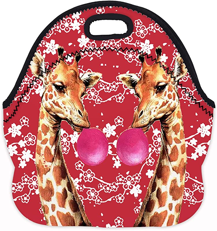 MOSDELU Boys Girls Giraffes With Bubblegum Framed Lunch Bag Insulated Lunch Tote Bento Bag Lunchbox Handbags Outdoor Travel Picnic Carry Case