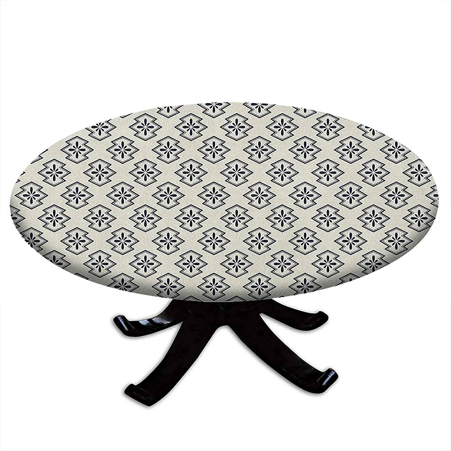 SALENEW very popular! Round Tablecloth with Elastic Edges Abstract Indianapolis Mall G Flower Patterned