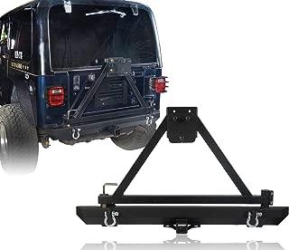 u-Box Jeep TJ YJ Rear Bumper w/Tire Carrier & Receiver Hitches in Matte Black for 1986-2006 Jeep Wrangler TJ YJ