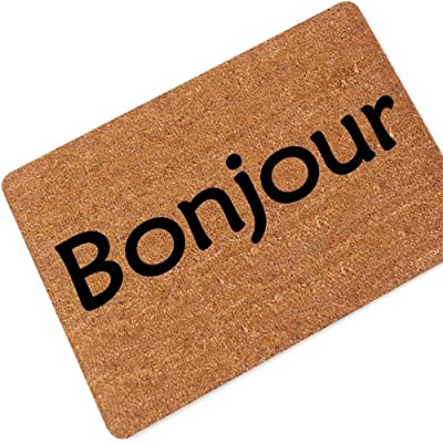 Practical and Beautiful Carpets French Language Hello/Welcome Rubber Carpet Doormat Dirt Trapper Floor Mat Personalized Interesting Living Room Bedroom Kitchen 60x90cm Non-Slip Home Decor Carpet