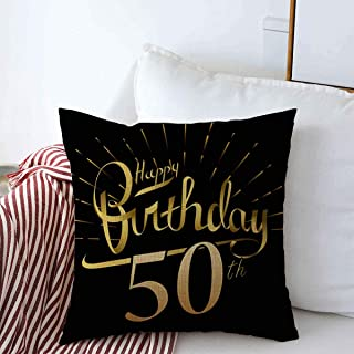 Staropor Throw Pillows Cover 16 x 16 Inches 50Th Happy Birthday Firework Beautiful Greeting Finance Anniversary Retro Brush Celebration Fun White Cushion Case Cotton Linen for Fall Home Decor