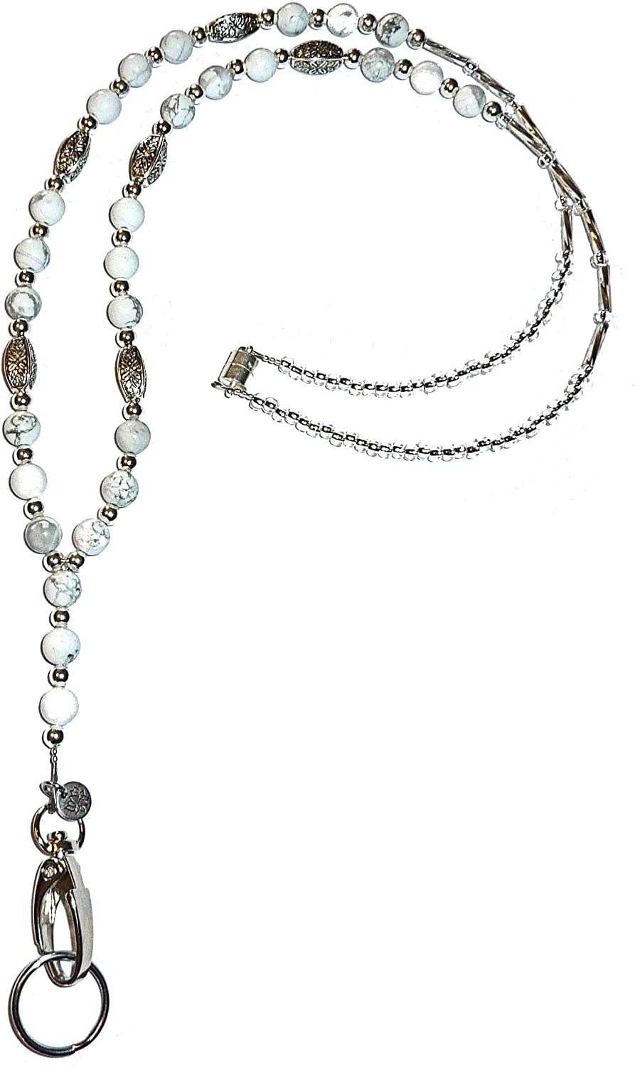 Max Price reduction 65% OFF Women's Natural Stone Howlite Made Fashion Lanyar Beaded In USA