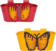 Berry Collection Design Bucket Self Embossed Railing Planter for Home, Garden, Balcony Decoreted (Multicolour) Set of 2