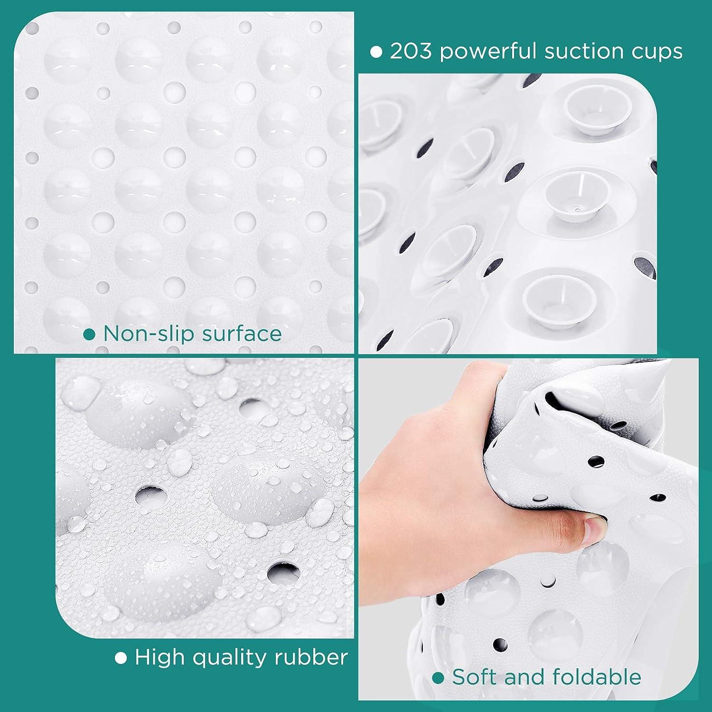 GeeRic Badewannenmatte rutschfest Duschmatten dusche mit Saugnapf Extra Lange Antibakterielle badematte 100 x 40cm,Wei/ß
