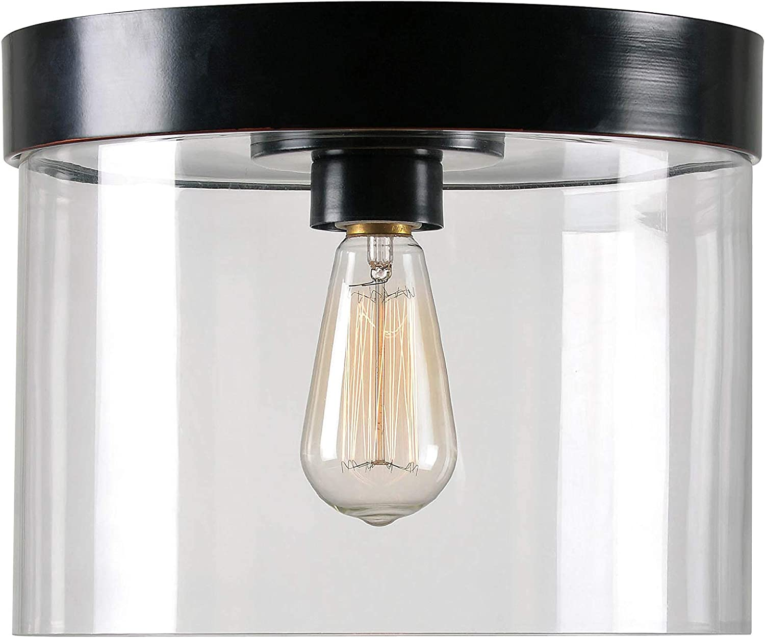 Kenroy Home Large Attention brand Flush Mount Kansas City Mall Pan R Oil Blackened Clear Glass