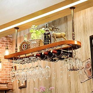 Ybzx Porte-Bouteille de vin Suspendu au Plafond Porte-Verre à vin à Hauteur réglable Bois Organisateur de Bouteille Acryli...