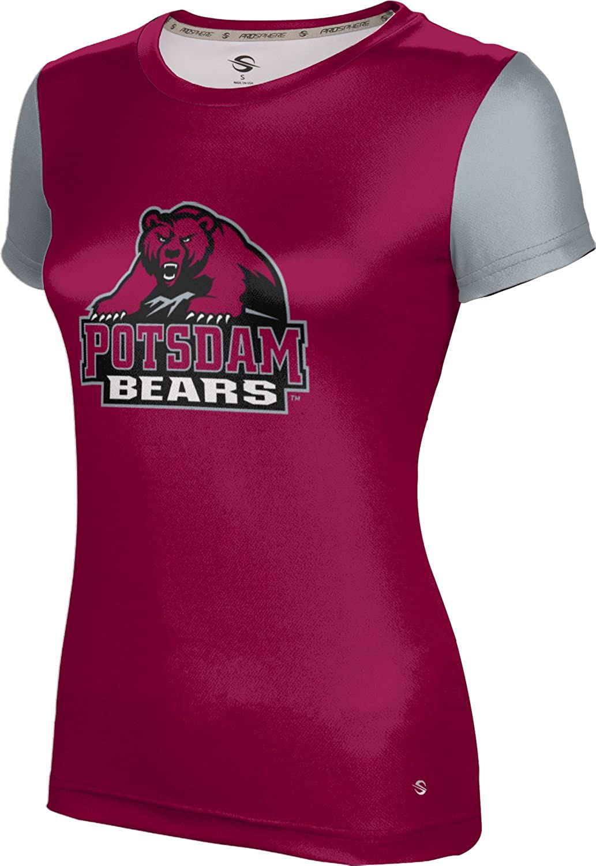 State University of New York at Potsdam Girls' Performance T-Shirt (Crisscross) F99E5 Red and Gray
