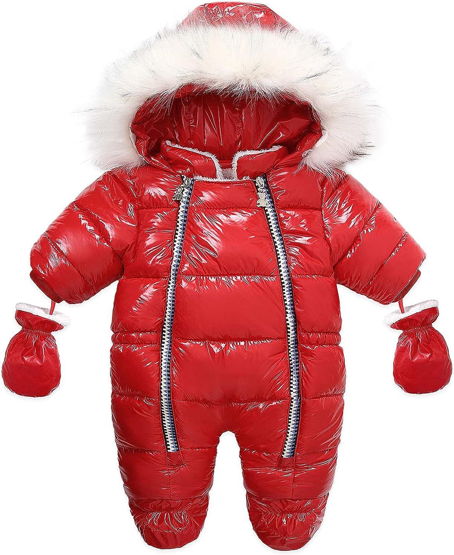 Tengoait Nerborn Girl Boy Snowsuit Down Jacket Hooded PU Romper Jumpsuit Winter Outwear