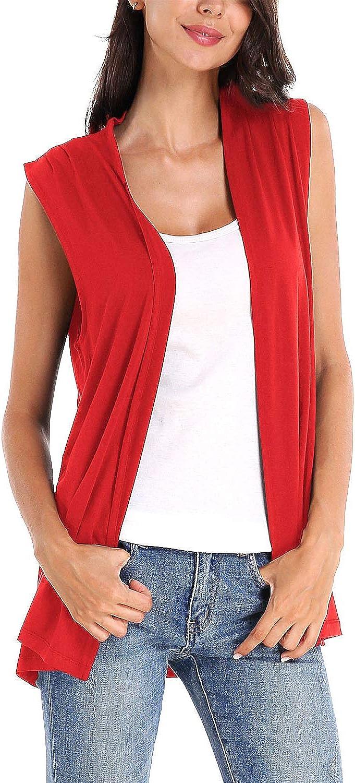 Women's Sleeveless Cardigan Open Front Vest Lightweight Cool Coat