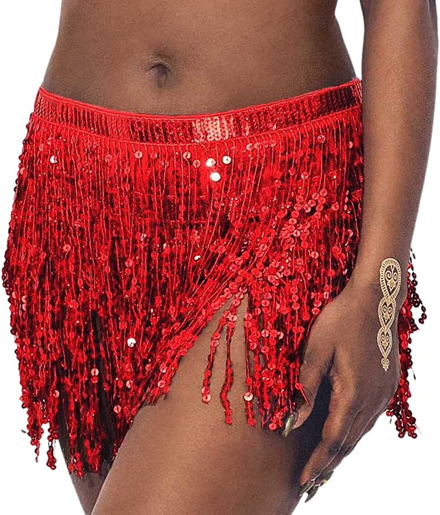 COSYDAYS Belly Dance Hip Max 88% OFF Skirt Dealing full price reduction Scarf Sequin Red Fringe Tasse