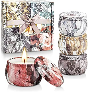 CREASHINE Scented Candles Gifts Set for Women, 5.6 Oz Natural Soy Wax Portable Travel Tin Aromatherapy Candles for Stress ...