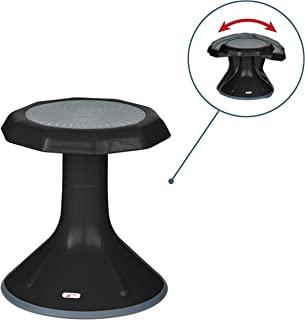 ECR4Kids ACE Active Core Engagement Wobble Stool for Kids, Flexible Classroom & Home Seating, Kids' Chair, Flexible Seating, Wiggle Chairs, 360 Degree Movement, 15-inch Seat Height, Black