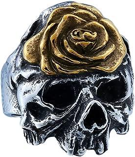 Stainless Steel Winged Flower Sugar Biker Ring Gothic Halloween Jewelry Accessories