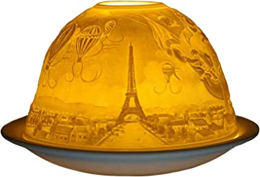 "Him ""Paris Tea Light Holder, Porcelain, White"