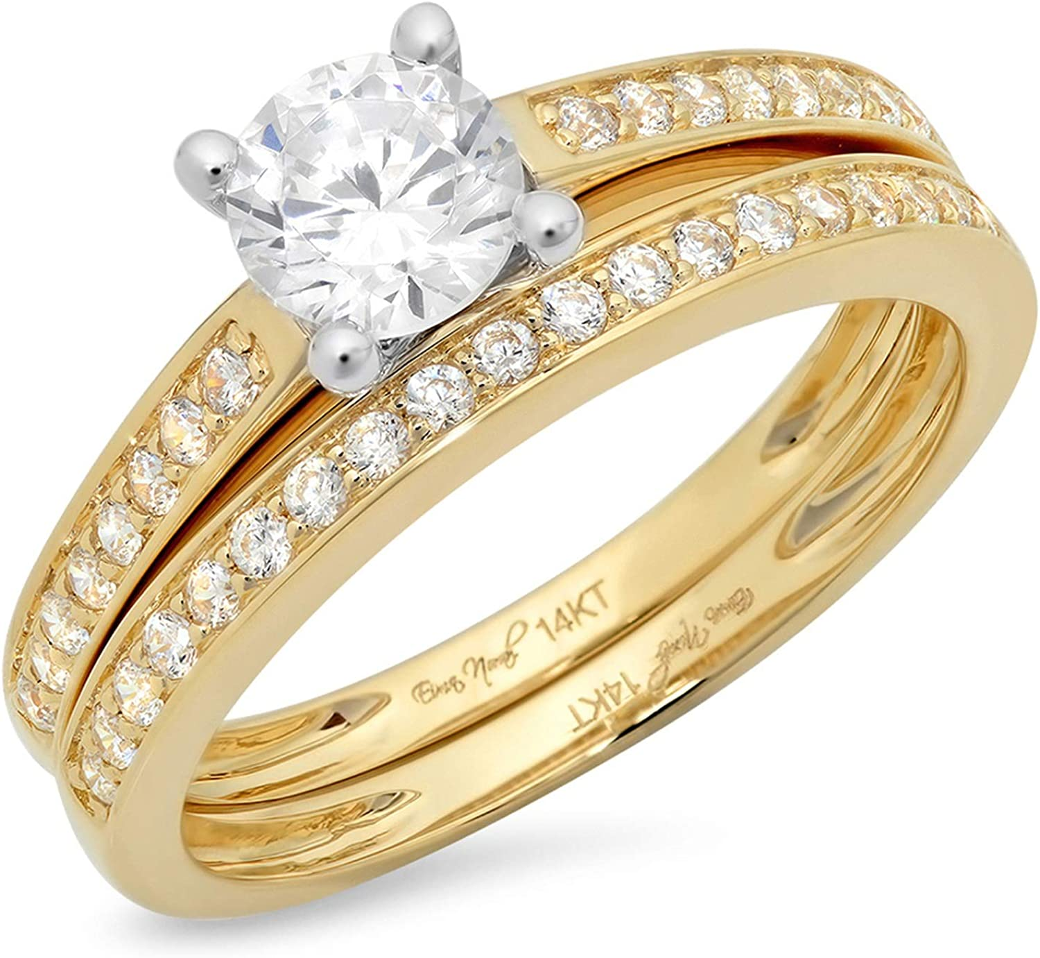 1.14ct Round Cut Pave Solitaire with Accent VVS1 Ideal D White Created Sapphire & Simulated Diamond Engagement Promise Designer Anniversary Wedding Bridal ring band set 14k 2 Tone Gold