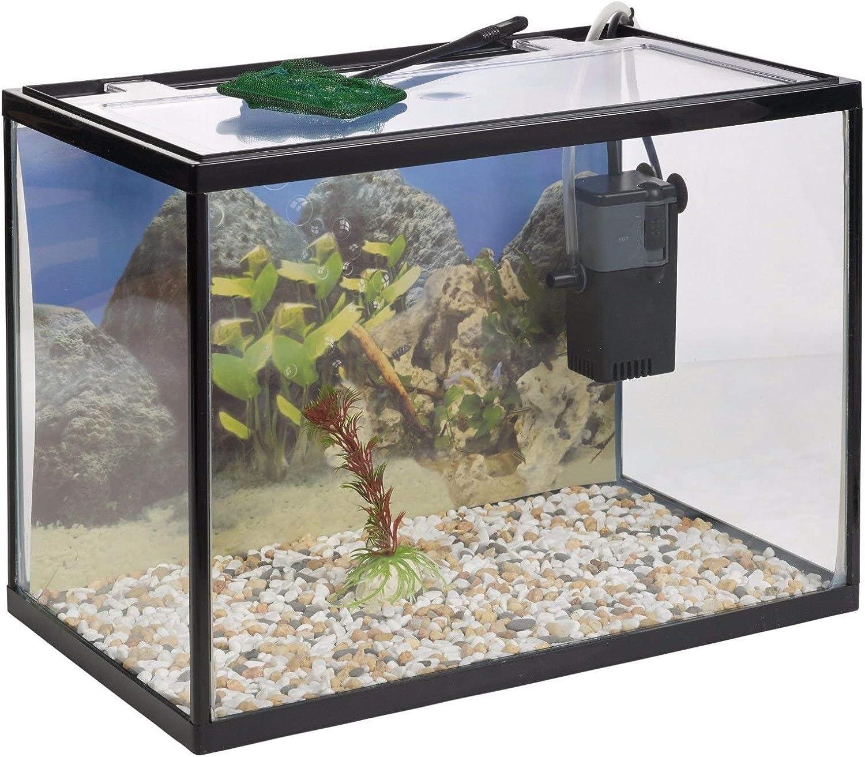 URBNLIVING Urbn Living 18 litres Verre Aquarium Starter Set avec Pompe Filtre Filet Plante Pierres