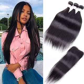 8A Peruvian Straight Hair Bundles with Closure (10 12 14+10) Unprocessed Peruvian Straight Human Hair Bundles with Free Part Lace Closure Peruvian Straight Virgin Hair Natural Color