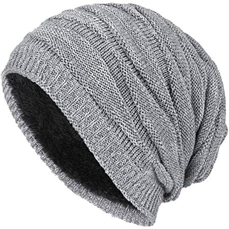 DD UP Winter Beanie Hat Men Warm Knit Long Slouch Skull Cap Thermal with Soft Fleece Lining