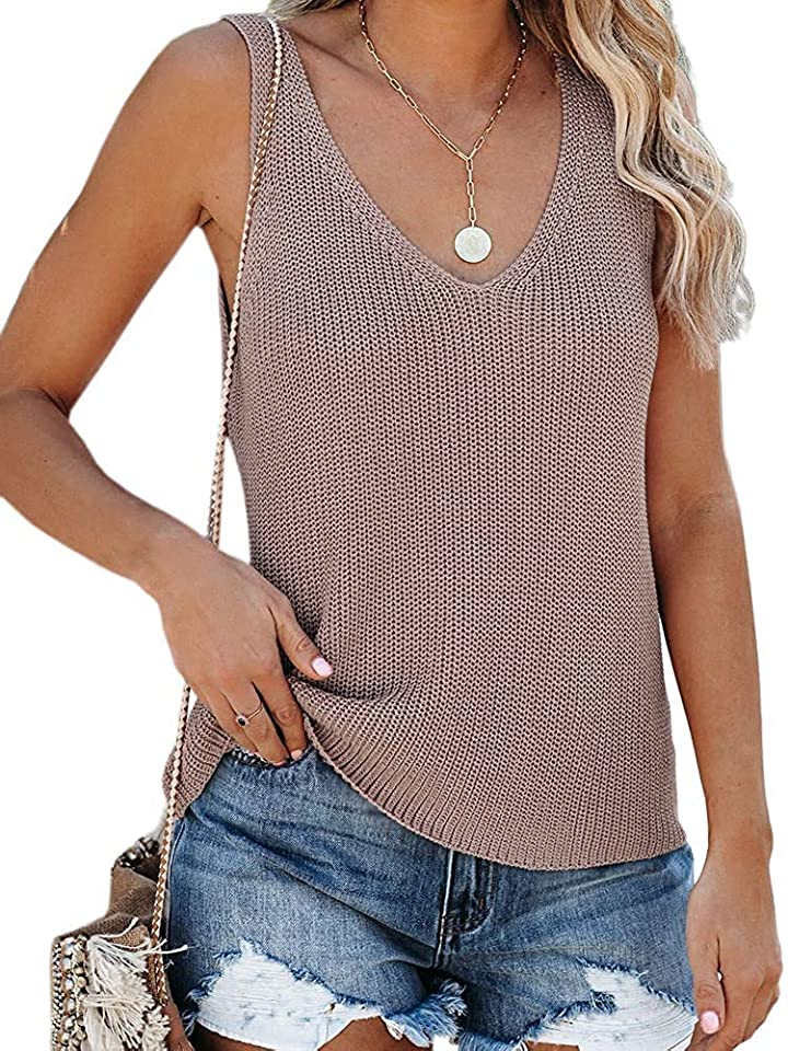 Women's Knit Tank Tops Summer Tanks Loose Sleeveless Tops Camis Casual Sleeveless Shirts Blouses Sweater