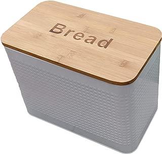 Bamboo lid bread box. Storage bin kitchen decor. Kitchen storage container. breadbox basket. kitchen countertop organizer. Tin box. Premium Present brand. … (White)