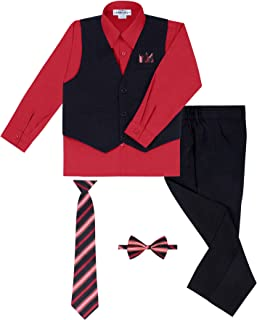 Boy's 6 Piece Vest and Pant Set, Includes Shirt, Long Tie, Bow Tie and Hanky - Many Colors