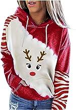 Femmes Tops Pull Noël Manches Longues Femme Noël Hoodies Sweatshirt Casual Pull à Capuche Shirt Manches Longues Col Rond A...