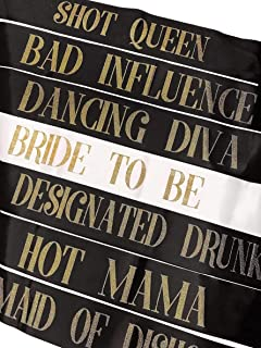 Lunar S Pack of 7 Bachelorette Party Sash - Hen Party Sash - 1 Bride to Be Sash + 6 Bride Tribe Sashes - perfect for Bridal Shower, Wedding Shower Decorations, Bachelorette Party Decorations