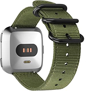 Fintie for Fitbit Versa 2 / Versa/Versa Lite Edition Bands, Soft Nylon Replacement Strap Wristband Accessories Compatible with Fitbit Versa Smart Watch - Olive