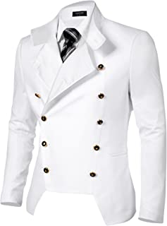 Men's Casual Double-Breasted Jacket Slim Fit Blazer