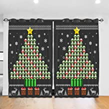 FDASLJ Customized Blackout Window Curtains 3D Su-per Ma-Rio Mushroom Christmas Tree Grommet Thermal Insulated Room Darkening Drape for Bedroom Living Room 52 X 72 Inch, 2 Panels