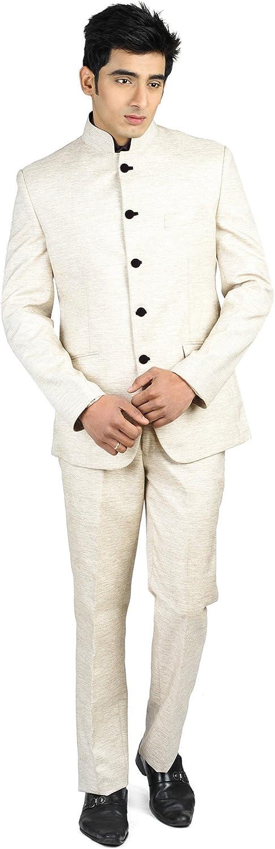 LUXURAZI Men's Mandarin Collar Linen Beige Festive Suit