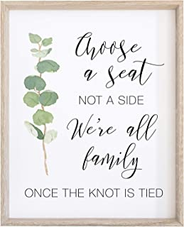 2 City Geese Choose A Seat Not a Side Sign for Wedding Ceremony | Watercolor Eucalyptus Greenery on Thick Cardstock Paper | (1) 8x10 Wedding Decoration